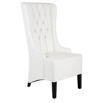 Club Napa Genuine Leather Upholstered Dining Chair Upholstery: White