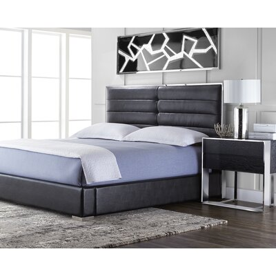 Club Avalon Platform Bed Upholstery: Black, Size: Queen