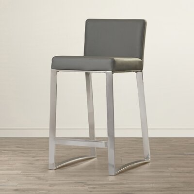 26 inch Bar Stool with Cushion Upholstery: Grey
