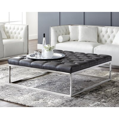 Club Sutton Square Large Leather Ottoman Upholstery: Grey