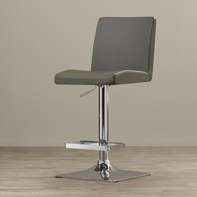 Urban Unity Adjustable Height Swivel Bar Stool with Cushion Upholstery: Grey