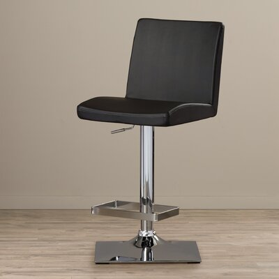 Urban Unity Adjustable Height Swivel Bar Stool with Cushion Upholstery: Black