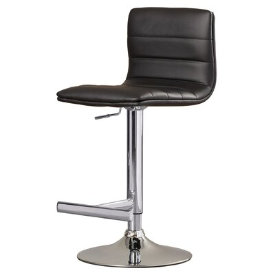 Urban Unity Motivo Adjustable Height Swivel Bar Stool Upholstery: Black
