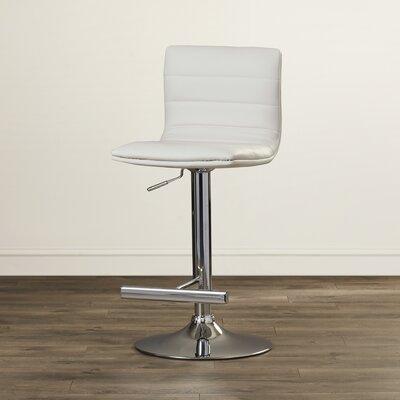 Urban Unity Motivo Adjustable Height Swivel Bar Stool Upholstery: White
