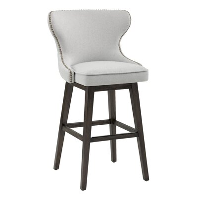 Ariana Swivel Bar Stool Upholstery: Light Gray