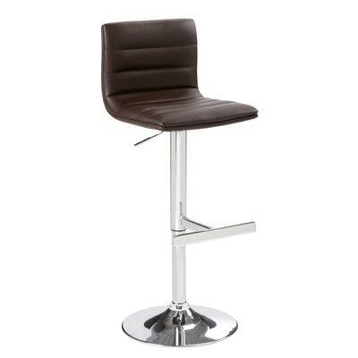 Urban Unity Motivo Adjustable Height Swivel Bar Stool Upholstery: Brown