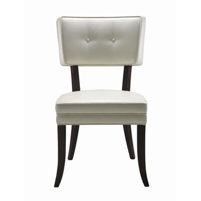 5West Amelia Genuine Leather Upholstered Dining Chair (Set of 2) Upholstery: Ivory