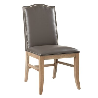 5West Maison Parson's Chair (Set of 2) Upholstery: Bonded Leather Grey, Reclaimed Leg Finish: Yes
