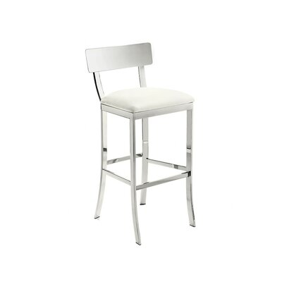 Ikon Maiden 30 Bar Stool with Cushion Upholstery: White