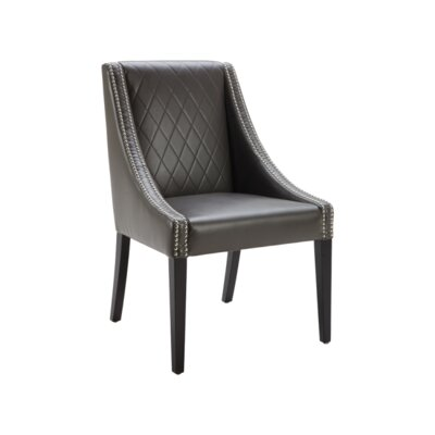 5West Malabar Genuine Leather Upholstered Dining Chair Upholstery: Grey