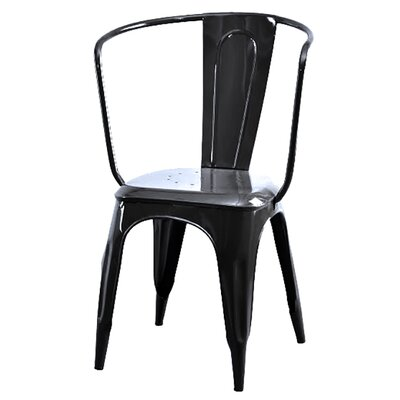 Industrial Tolix Carver Side Chair Color: Black