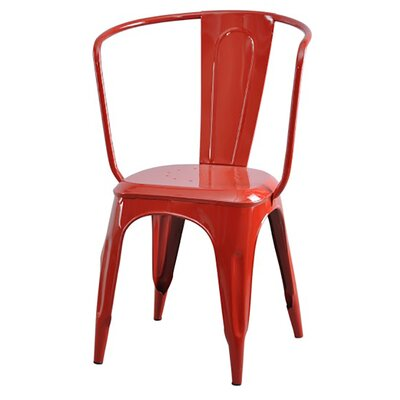Industrial Tolix Carver Side Chair Color: Red