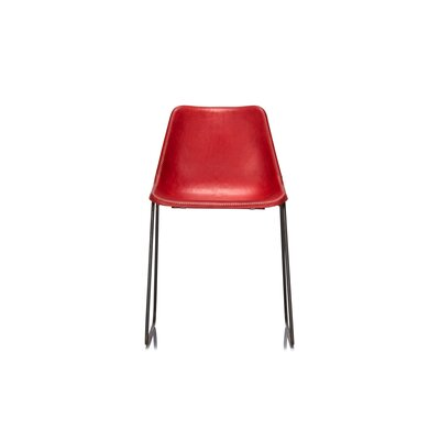 Hudson Genuine Leather Upholstered Dining Chair Upholstery: Red