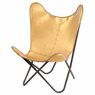 Gold Leather Butterfly Lounge Chair