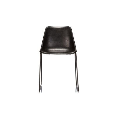 Hudson Genuine Leather Upholstered Dining Chair Upholstery: Black