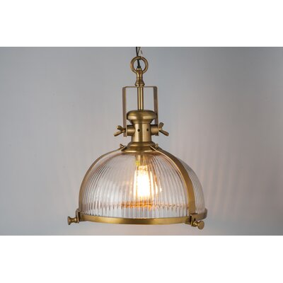 1-Light Bowl Pendant Color: Brass Antique