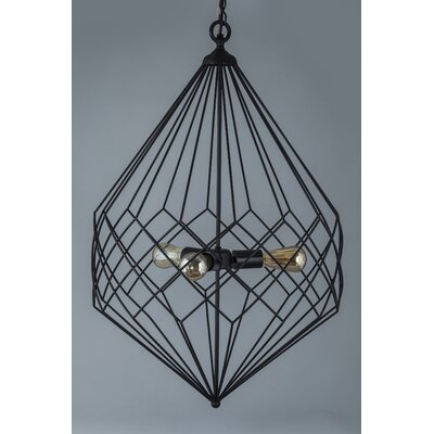 3-Light Foyer Pendant Color: Black