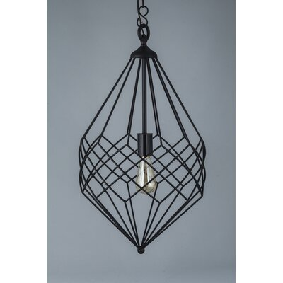 1-Light Foyer Pendant Color: Black