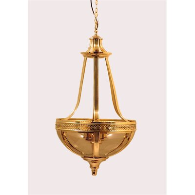 French 3-Light Empire Chandelier Color: Brass / Smoke Glass
