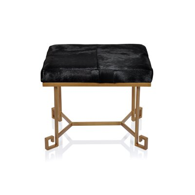 Vintage leather Ottoman Upholstery: Black Hide
