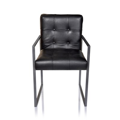 Rome Leather Armchair Upholstery: Black