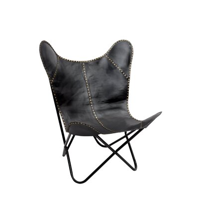 Safari Leather Riveted Butterfly Lounge Chair Upholstery : Black