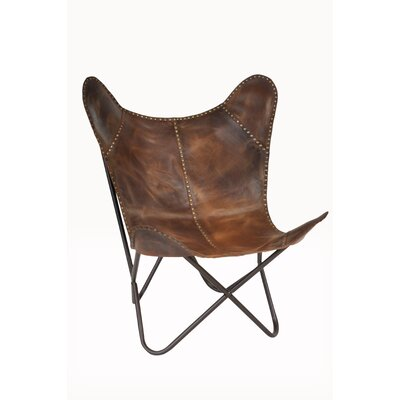Safari Leather Riveted Butterfly Lounge Chair Upholstery : Cocoa