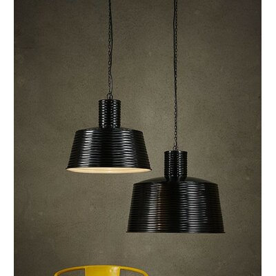 1-Light Drum Pendant Shade Color: Black, Size: Small