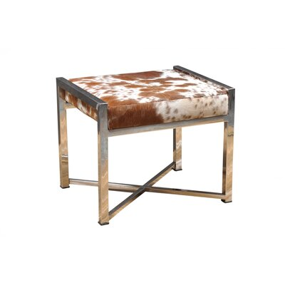Anand Ottoman Upholstery: Choco White Hide