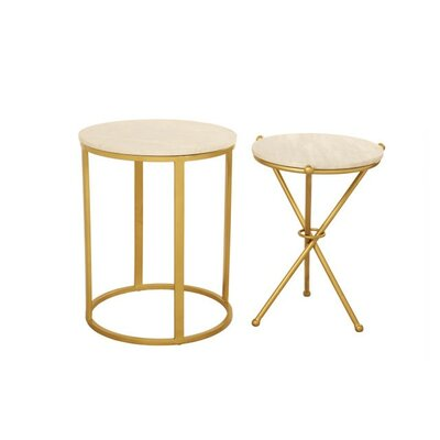 Aula 2 Piece End Table Set Color: Gold