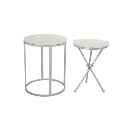 Aula 2 Piece End Table Set Color: Silver