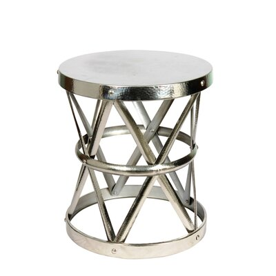 Hammered Drum Cross Table / Stool Finish: Nickel