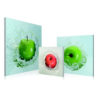 Apples Droping 3 Piece Framed Photographic Print Set