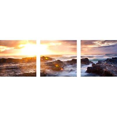 Ocean Sunrise 3 Piece Framed Photographic Print Set