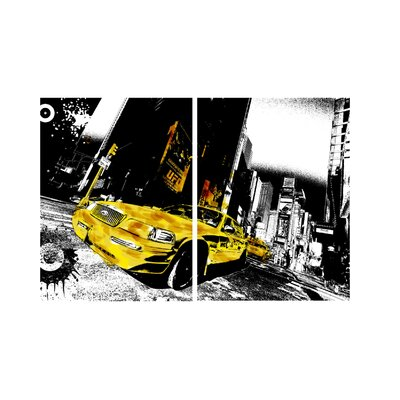 New York City Taxi 2 Piece Framed Photographic Print Set