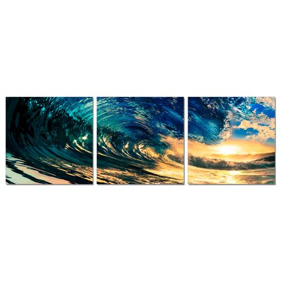Ocean Wave 3 Piece Framed Photographic Print Set