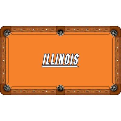 Wave 7 NCAA Recreational Billiard Table Felt - Size: 7', NCAA Team: Illinois Logo with Orange Background