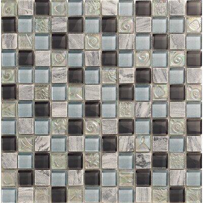 Yukon 1 x 1 Glass Mosaic Tile in Silver/Dark Blue