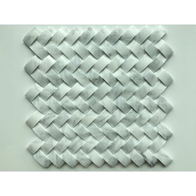 Marmol Herringbone Statuario 3D Natural Stone Mosaic Tile in White Marble
