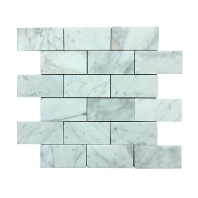 Marmol Statuario Brick 2 x 3 Natural Stone Mosaic Tile in White Marble