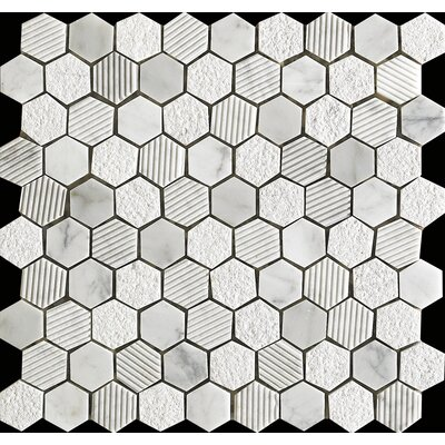 Marmol Statuario Hex Mix 0.75 x 0.75 Natural Stone Mosaic Tile in White Marble