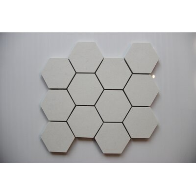 Hexagon Andorra Bianco 3 x 3 Porcelain Mosaic Tile in Gray