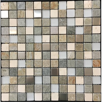 Pompeya Metal 1 x 1 Natural Stone Mosaic Tile in Beige