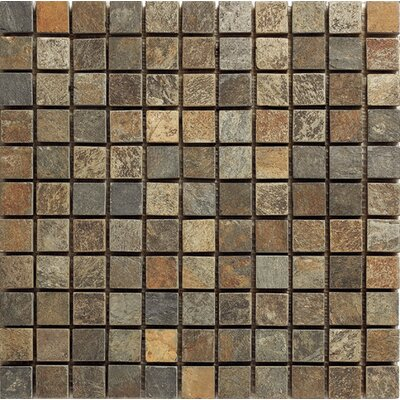 Pompeya Slate 1 x 1 Slate Mosaic Tile in Brown