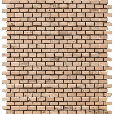 Pompeya Trav Brick Natural Stone Mosaic Tile in Beige/Red