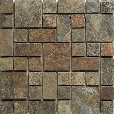 French 12 x 12 Slate Mosaic Tile in Brown