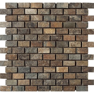 Mini Brick 12 x 12 Slate Mosaic Tile in Brown