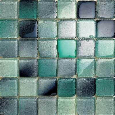 Fiji 2 x 2 Glass Mosaic Tile in Aqua Blue