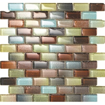 Fiji 1 x 2 Glass Mosaic Tile in Blue/Brown