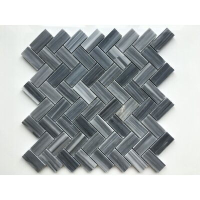 Marmol Herringbone Natural Stone Mosaic Tile in Dark Blue/Gray